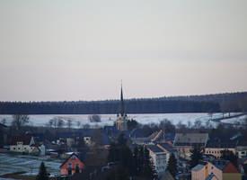 Blick auf die St. Laurentius Kirche in Elterlein